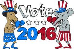 Vote 2016 Donkey Boxer and Elephant Mascot Cartoon. Illustration of a democrat donkey boxer mascot and republican elephant boxer mascot wearing gloves and hat royalty free illustration