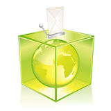 Vote for the Earth. Transparent green ballot box, vote for the Earth Stock Photos