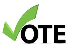 Vote el texto con el rectángulo de la marca de verificación y de verificación Foto de archivo