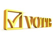 Vote el texto con el rectángulo de la marca de verificación y de verificación Fotos de archivo libres de regalías