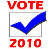 Vote election 2010. Blue tick in black box with red vote 2010 Royalty Free Stock Images