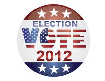 Vote Election 2012 Button Illustration. Vote Election 2012 with USA Flag in Text Silhouette Illustration Royalty Free Stock Images