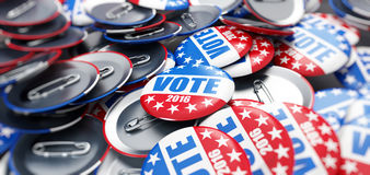 Vote election badge button for 2016. Background stock illustration