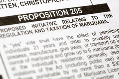 Vote; election; ballot; decision; decide; choose; democracy; pol. PHOENIX, AZ - OCTOBER 21, 2016: Closeup photo of headline of proposition 205 initiative to make Royalty Free Stock Image