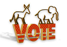 Vote Election Day 3D graphic. 3D Illustration Golden Vote Election Day graphic Royalty Free Stock Photography