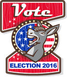 Vote Election 2016 Democrat Donkey Mascot Cartoon. Illustration of a democrat donkey mascot of the democratic grand old party gop smiling looking to the side set royalty free illustration