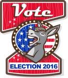 Vote Election 2016 Democrat Donkey Mascot Cartoon Stock Images