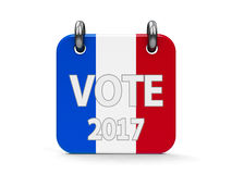 Vote election 2017 icon calendar. Vote election 2017 calendar icon as french flag - represents the Election Day 2017 in France, three-dimensional rendering, 3D Stock Illustration
