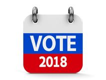 Vote election 2018 icon calendar. Vote election 2018 calendar icon as russian flag - represents the Election Day 2018 in Russia, three-dimensional rendering, 3D Stock Images