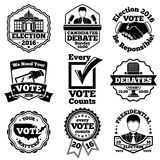 Vote and election labels. Vector set. Royalty Free Stock Image