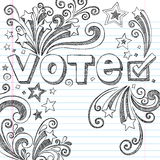 Vote Election Sketchy School Doodles Vector Illust. Vote Presidential Election Back to School Style Sketchy Notebook Doodles with Stars and Swirls- Hand-Drawn vector illustration