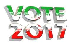 Vote 2017 en Iran Concept iranien d'élection présidentielle, 3D Photos stock
