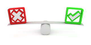 Vote equality. Green tick and red cross balancing on the seesaw Royalty Free Stock Image