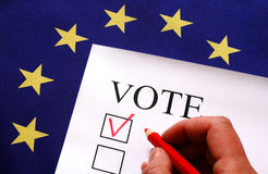 Vote for Europe. Vote box with the flag of Europe Royalty Free Stock Photography