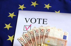 Vote for Europe euro money. Euro banknote. Concept of politics corruption Stock Image