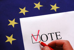 Vote for Europe. Voting, vote, flag, election, europe Royalty Free Stock Photos