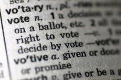 Vote föreställde i ordboken Arkivfoton