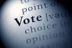 Vote. Fake Dictionary, Dictionary definition of the word Vote stock images