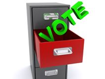 Vote with file cabinet. Vote in large green text in open drawer of filing cabinet Stock Photo