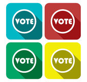 Vote Flat Icon Set Banner -. Vote Sign In Different Color - Voting Collection Set Vector Illustration Stock Royalty Free Stock Photography