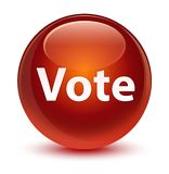 Vote glassy brown round button. Vote isolated on glassy brown round button abstract illustration Stock Image