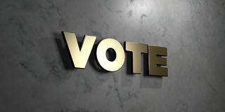 Vote - Gold sign mounted on glossy marble wall  - 3D rendered royalty free stock illustration. This image can be used for an online website banner ad or a Stock Photos