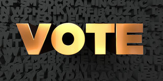 Vote - Gold text on black background - 3D rendered royalty free stock picture. This image can be used for an online website banner ad or a print postcard Royalty Free Stock Images