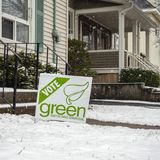 Vote Green sign from the Green Party of Prince Edward Island for provincial election April 23, 2019 stock image