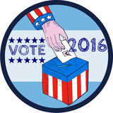 Vote 2016 Hand Ballot Box Circle Etching. Etching engraving handmade style illustration of a hand with american stars and stripes clothing holding ballot voting Royalty Free Stock Image