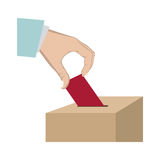 Vote in hand and urn. Illustration Royalty Free Stock Image