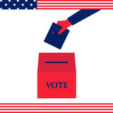 Vote hand USA. Hand puts the ballot in the ballot box - vector illustration on president elections in the United States in the national colors of american flag stock illustration