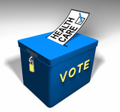 Vote Health Care A. Blue Ballot Box encouraging one to vote for a health care topic on the ballot stock illustration