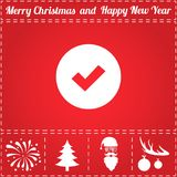 Vote Icon Vector. And bonus symbol for New Year - Santa Claus, Christmas Tree, Firework, Balls on deer antlers Royalty Free Stock Photos