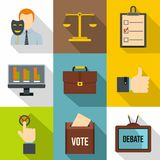 Vote icons set, flat style Stock Images