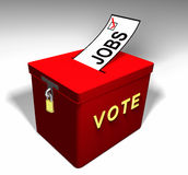 Vote Jobs A. Red Ballot Box encouraging one to vote for a jobs topic on the ballot Stock Image