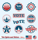 Vote Labels and Stickers. Collection of vintage style vote labels and badges Stock Images