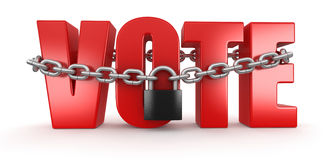 Vote and lock (clipping path included) Royalty Free Stock Images