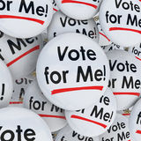 Vote for Me Buttons Pins Election Candidate Support Campaigning. Vote for Me buttons or pins for an election candidate campaigning for voter support to win a Stock Images