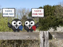 Vote for me politicians. Left and right wing politicians vying for your vote perched on a countryside fence stock illustration