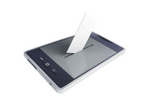 Vote mobile phone. On a white background Stock Photos