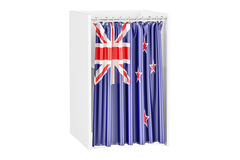 Vote in New Zealand concept, voting booth with flag, 3D renderin Royalty Free Stock Photos