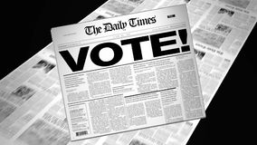 Vote! - Newspaper Headline (Reveal + Loops) stock video footage