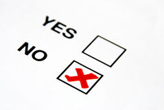 Vote no. A red tick on no box vote stock photos