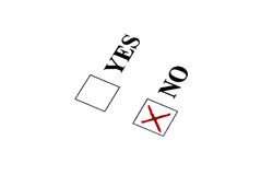 Vote for no. Red sign in no box royalty free stock photos
