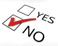Vote No. Two boxes with yes and no options with a red tick in the no box Royalty Free Stock Image