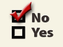 Vote No. Yes and No Checkboxes with Red Check in the No Box - Cream Background Stock Image