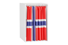 Vote in Norway concept, voting booth with Norwegian flag, 3D ren Royalty Free Stock Image