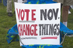 Vote November, Change Things Sign Stock Images