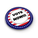 Vote Now!. 3D US election button with 50 stars royalty free illustration