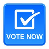 Vote now button. Vector illustration of vote now blue button icon on white background Royalty Free Stock Image